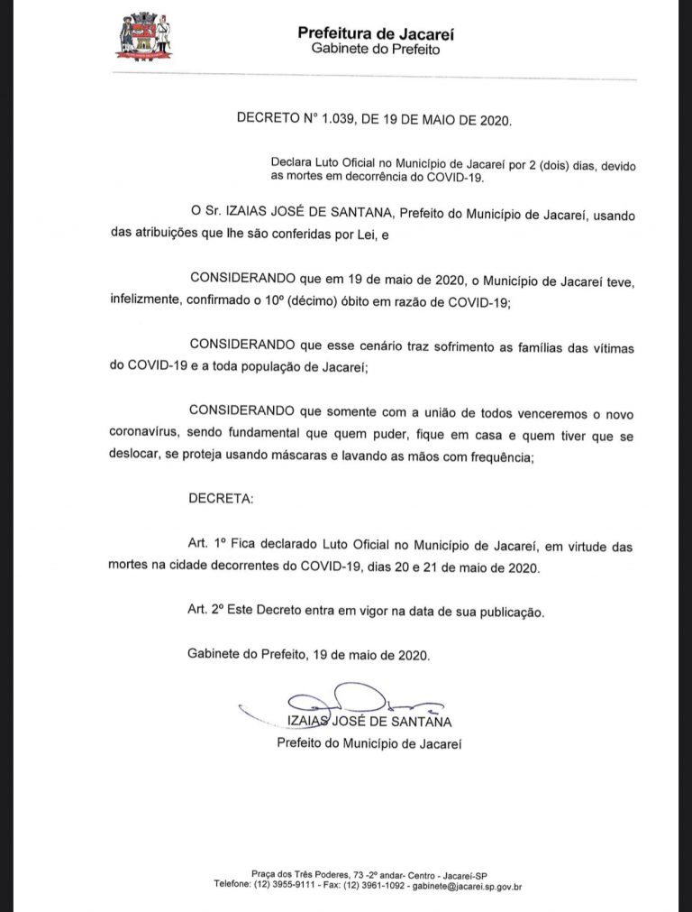 Prefeitura de Jacareí declara Luto Oficial na cidade por dois dias