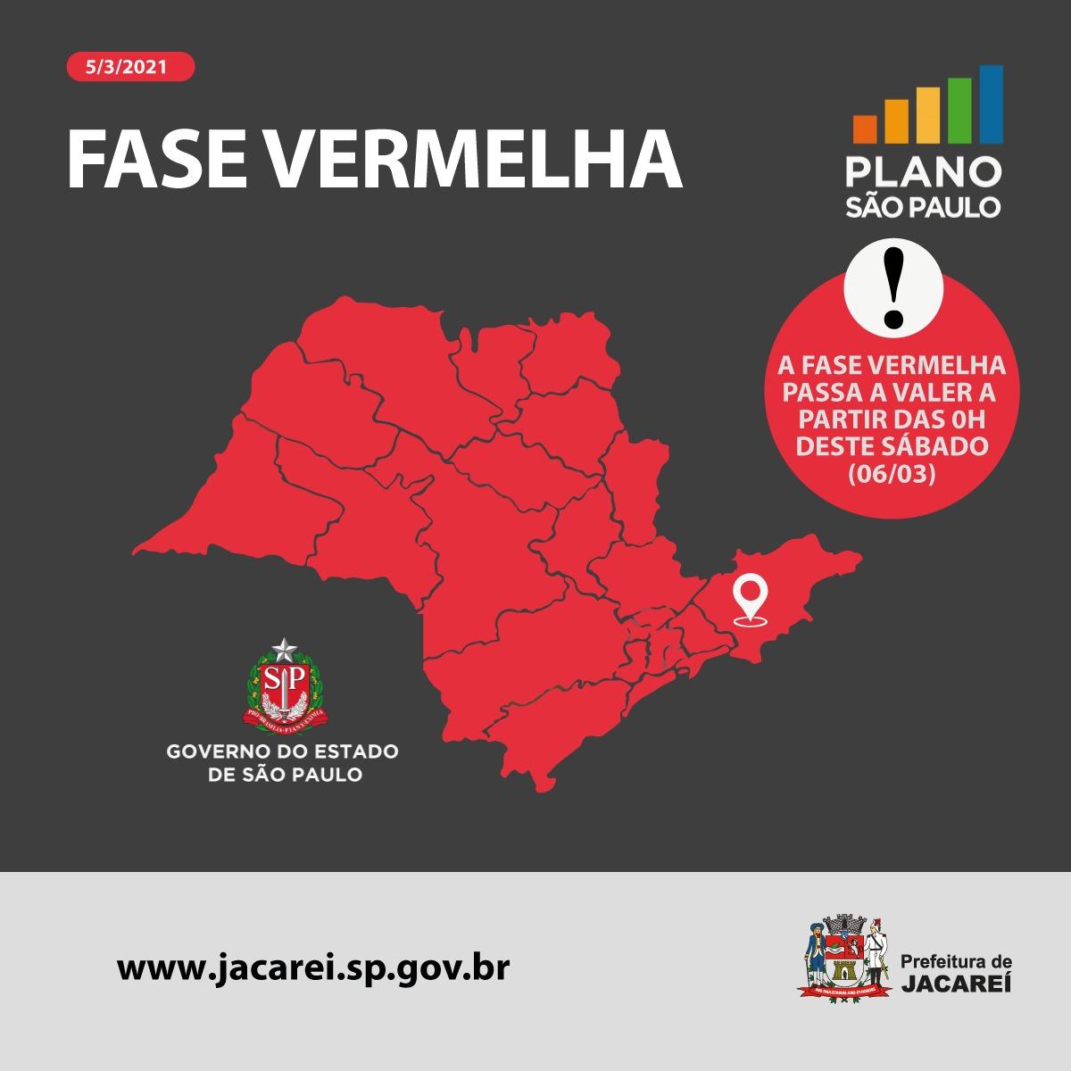 Confira o Decreto de Jacareí relacionado à Fase Vermelha que passa a valer a partir deste sábado em todo Estado de São Paulo